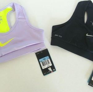 Nike pro sports bra's. New. Girls size M